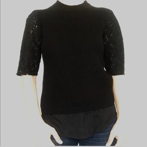 NWT Ann Taylor black knit lace sleeve sheer bottom